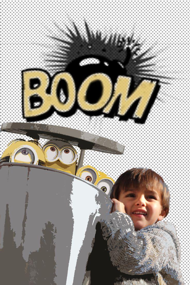 poster personalizado con fotos de niños, los minions, comic