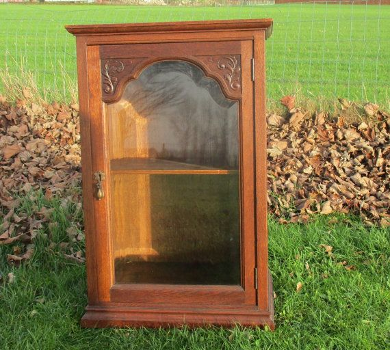 Large Carved Wood Medicine Bathroom Cabinet Beveled Glass Door Display