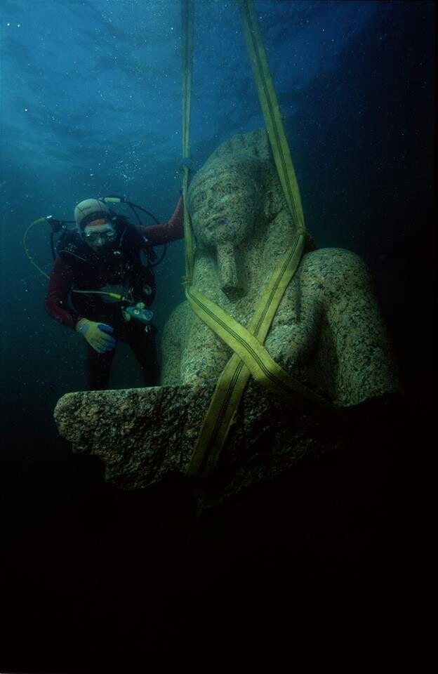 The lost city of Thonis- Heracleion was rediscovered in 2000 after 1,200 years under the Mediterranean Sea.