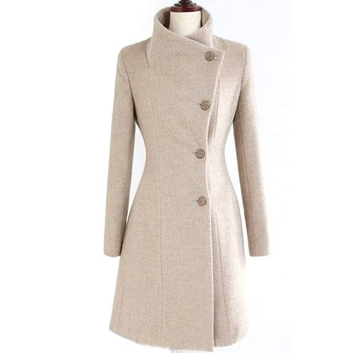 C84210 Collect Waist Cashmere Coat Tweed Winter Coat