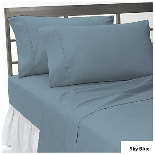 4 PC Sheet Set 8-10 inches Extra Deep Pocket Solid Pattern 100% Egyptian Cotton 500 Thread Count USA Bedding Sheet Set Size Queen Color Sky Blue
