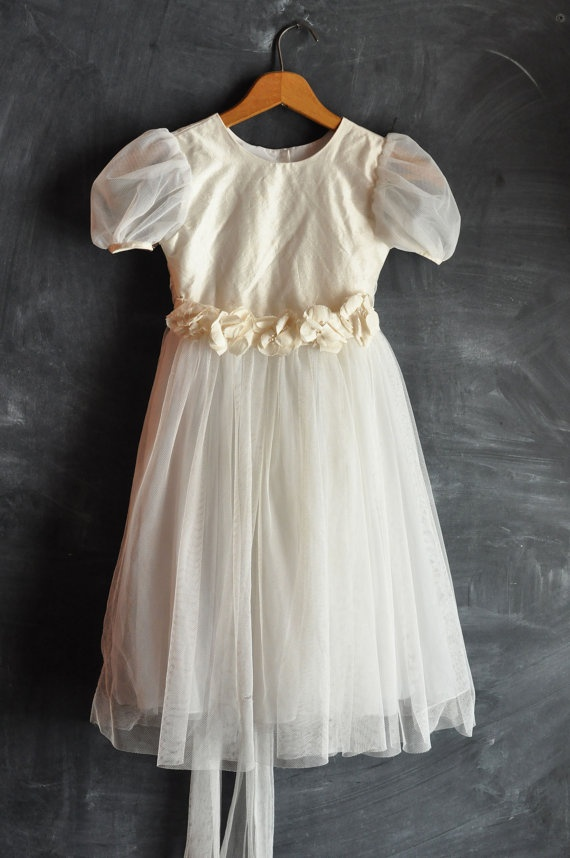 Vintage Flower Girl Dress size 4 Tinkerbell White by drowsySwords