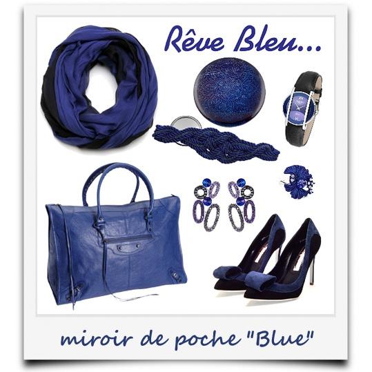 """j'ai du style avec mon miroir de poche """"Blue"""""""