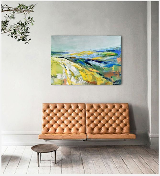 "Buy Oil painting, canvas art, stretched, ""Abstract landscape 70"" , 39.37/27.5 inches, (100/70cm)., Oil painting by Karina Antończak on Artfinder. Discover thousands of other original paintings, prints, sculptures and photography from independent artists."