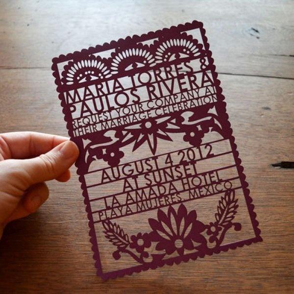 """QUE ES EL PAPEL PICADO http://es.wikipedia.org/wiki/Papel_picado Mexican style wedding invitation, """"papel picado"""", love it!"""