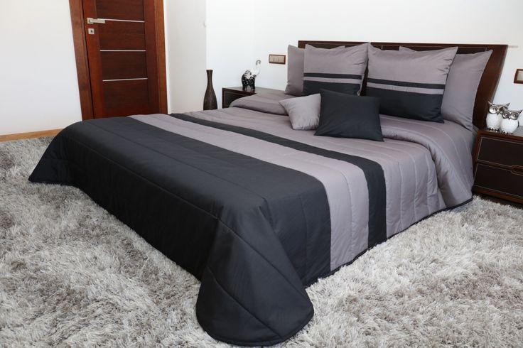 Sivo čierny prešívaný prehoz do spálne