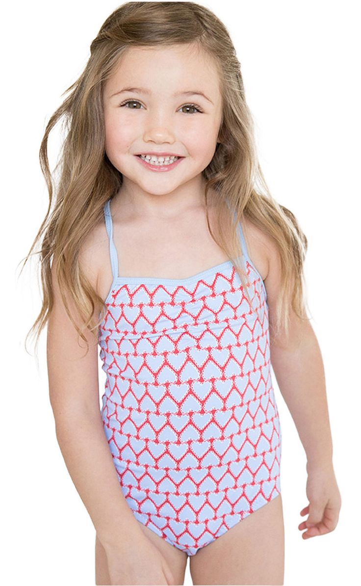 Stella Cove  Heart Print Red  Light Blue Swimsuit  Kids -3093