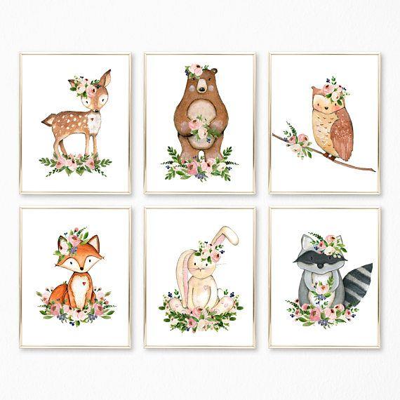 PRINTABLE. Girl Woodland Nursery Prints. Nursery Decor.