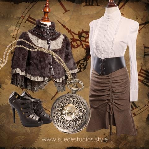 Suede Studios Style: mixes Mainstream with Steampunk to create 'Streampunk.' This montage features: made to order Gathered Front Skirt, Ermis Pintuck Blouse, Steampunk Fur Jacket, Pocket Watch Pendant, Republic Lace-up Leather Shoes, Lace-up Leather Belt. www.suedestudios.style