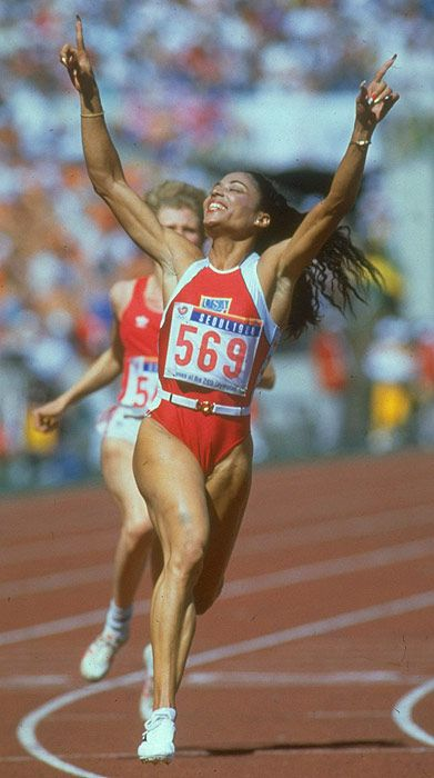 Florence Griffith-Joyner (1959-1998) winning the 100 metres at the 1988 Olympic Games in Seoul, South Korea.