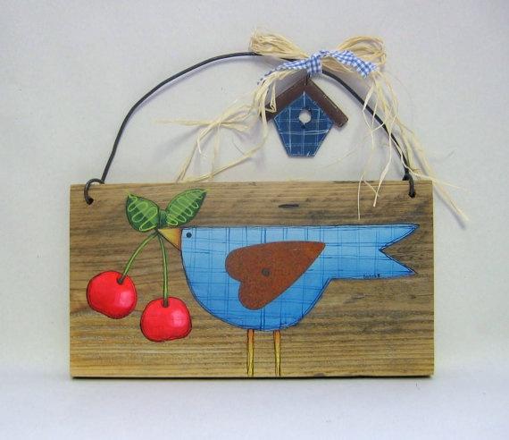 Blue Bird with Cherries Barn Wood Rustic by barbsheartstrokes,