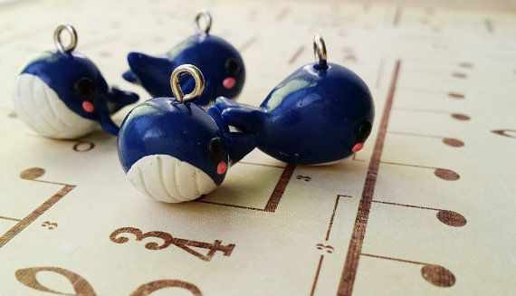 cute blue whale plymer clay charm by Kats13stuff on Etsy