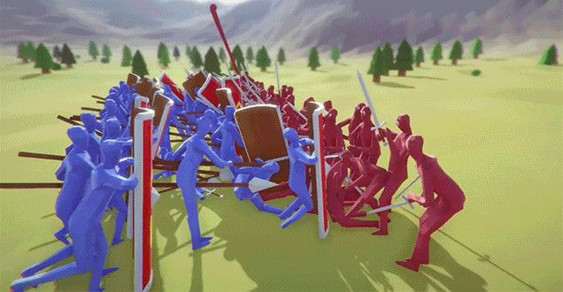 Sorry, I don't care if you caught a Squirkachu on Pokemon GTFO, because the only video game that will matter after today is Totally Accurate Battle Simulator. It pits hilariously brainless putty humanoids in red versus hilariously brainless putty humanoids in blue in the most ridiculous battle sequences.