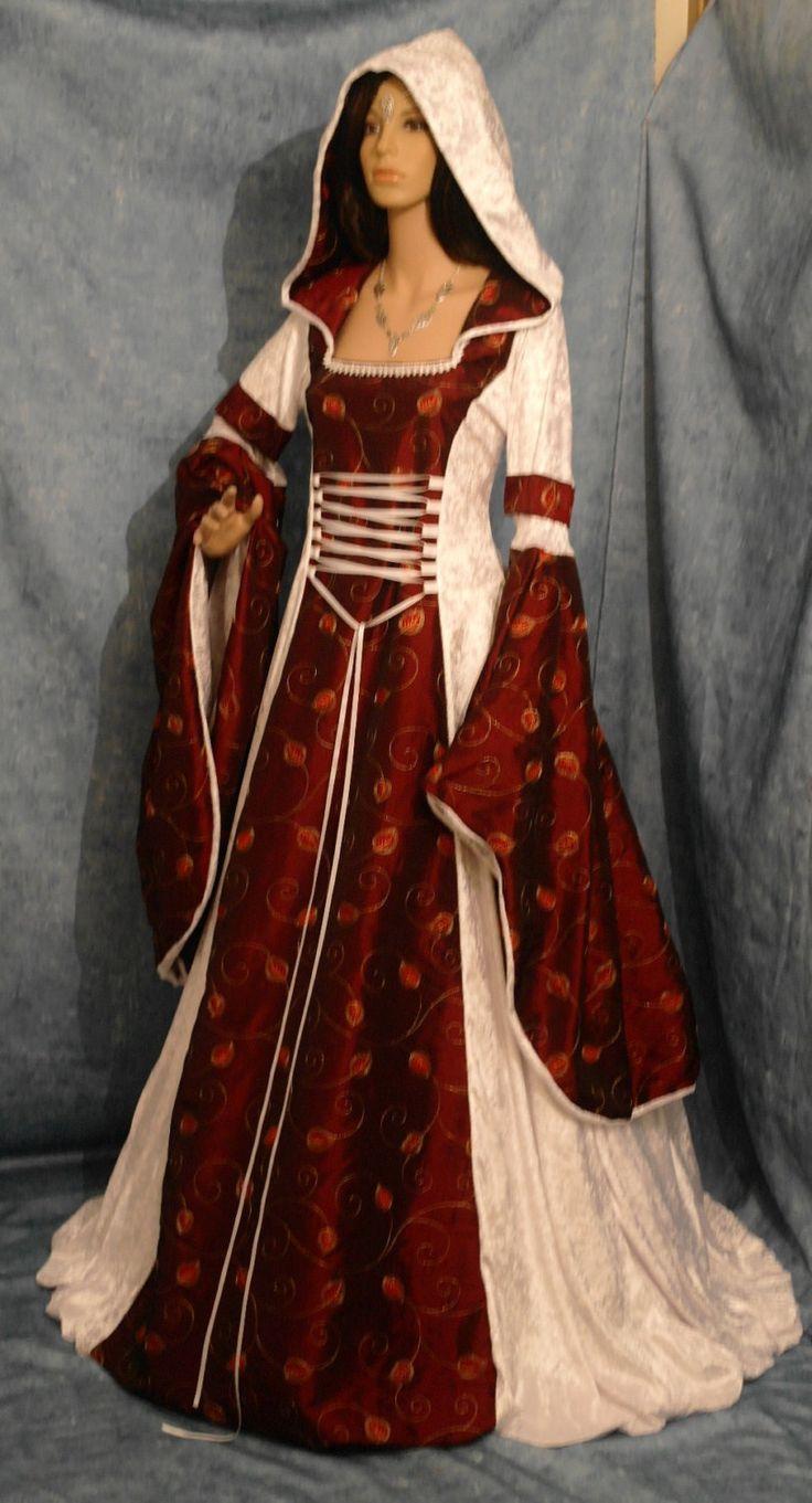 wiccan wedding dresses pagan wedding dresses Gothic medieval renaissance wedding dress hooded PAGAN wicca custom made