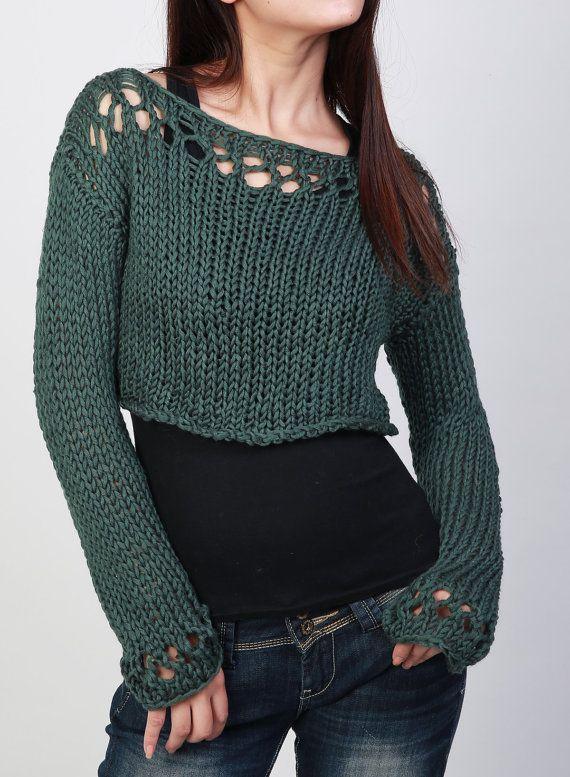 Suéter shrugcover poco para arriba superior recortado la caída