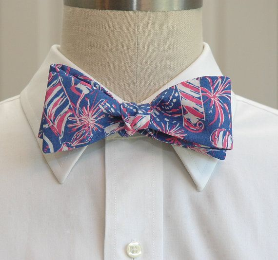 "Men's Bow Tie in Lilly fireworks ""Blue Cherry Bomb"" design"