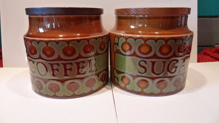 HORNSEA RETRO 1970'S STORAGE JARS COFFEE SUGAR CONTAINERS