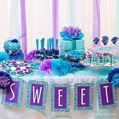 Image result for blue and purple sweet 16 decorations