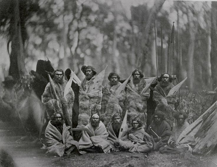 Group of Aboriginal tribesmen, probably from Cippsland, 1858 (photographer- Antoine Fauchery)