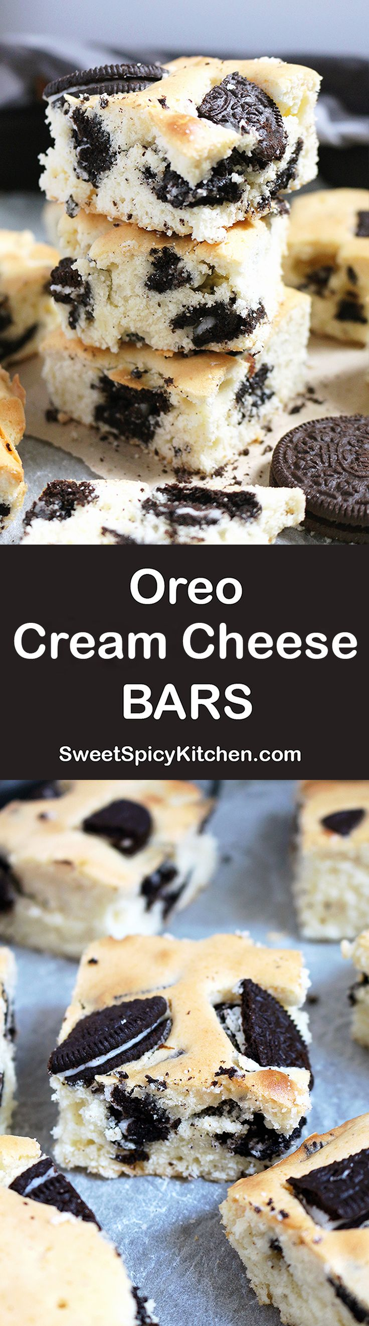 Oreo Cream Cheese Bars delicious bars made of Oreo cookies and cream cheese that I love. They are light and not too sweet, just perfect for my family and me