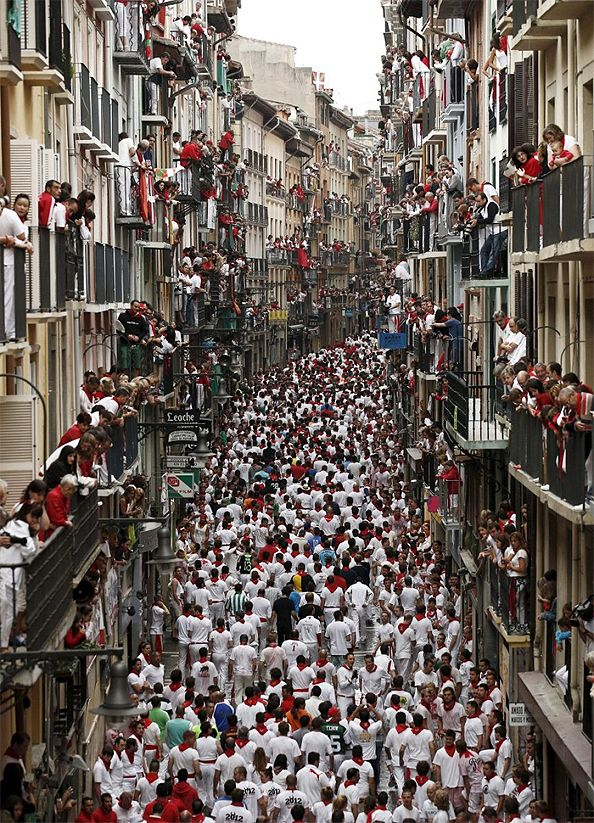 Estafeta Street, Pamplona - build up to the 'Running of the Bulls' in the Fiesta de San Fermin