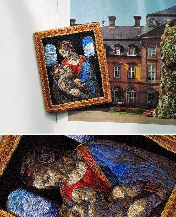 Madonna Litta Leonardo da Vinci ⛲ hand-embroidered brooch 🏰 Мадонна Литта Леонардо да Винчи, брошь, ручная вышивка ⛲ #lerapetunina #handembroidery #ручнаявышивка #вышивка #embroidery #broderie #bordado #ricamo #brooch #handwork #satinstitch #leonardodavinci #madonnalitta  #art #arte #renaissance #rinascimento #renacimiento #ренессанс #возрождение #embroidered