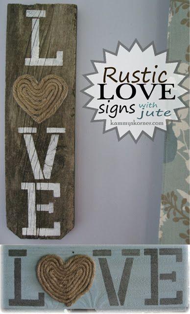Kammy's Korner: Rustic LOVE Signs