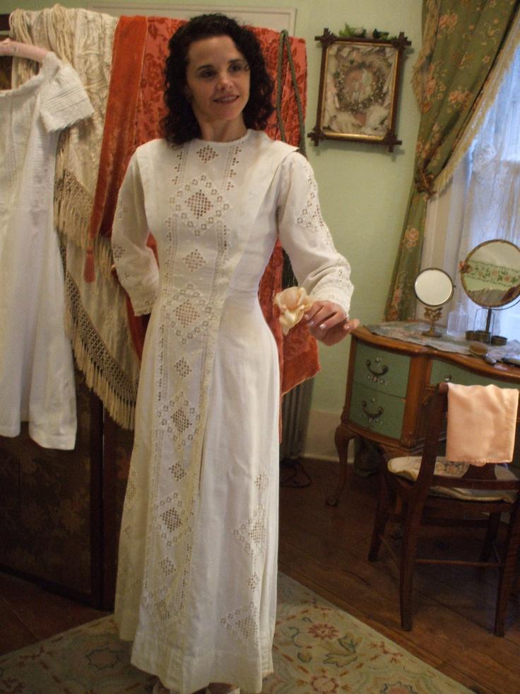1900 HARDANGER Hand Embroidered SWEDISH WEDDING Dress. $225.00, via Etsy.