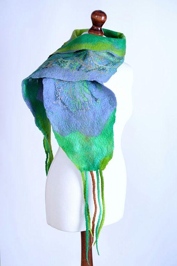 Многоцветный шерстяной шарф лесной шарф зеленый узор от BlanCraft