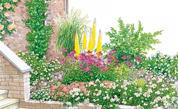 Helle Blüten und Blätter sowie Bäume und Sträucher mit schlankem Wuchs lassen kleine Vorgärten deutlich größer wirken