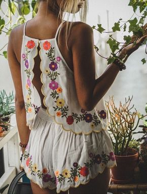 flowers, two piece, romper, summer | TheHunt.com