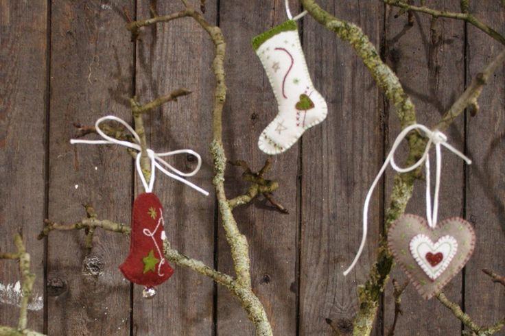 pakket kersthangers vilt-groen rood - Maak het zelf