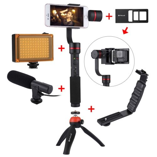 [$131.01] PULUZ G1 3-Axis Stabilizer Handheld Gimbal with Clamp Mount and Tripod Holder + L-Shape Bracket + LED Studio Light + Video Shotgun Microphone + Switch Mount Plate with Tripod Holder