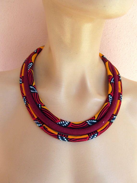 www.cewax.fr aime ce collier plastron multi rang style ethnique tendance tribale tissu africain wax Collier orange, bijoux africain /African collier de tissu