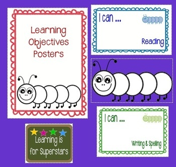 These learning objectives can be laminated to write on and wipe off daily, or placed in frames to do the same.  The subject is located in the botto...