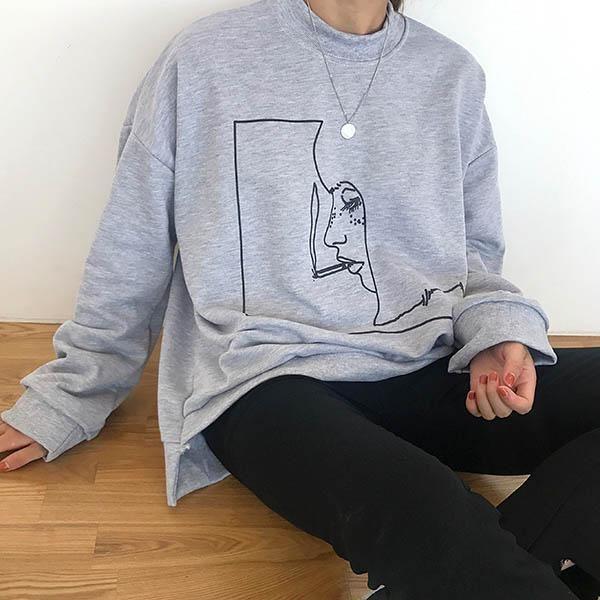 aesthetic soft grunge clothes smoke girl sweatshirt gray boogzel apparel