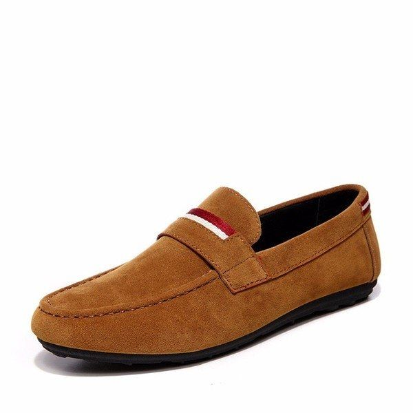 Brand: No  	 	 Shoe Type: Casual Shoes 	Toe Type: Round Toe  	Closure Type: Slip On 	Gender: Male 	Occasion:  Casual  	Season: Spring, Summer,Autumn  	Color:  Blue,Black,Khaki  	 	Material: 	Upper Material: Pu   Leather  	 Outsole Material: Rubber 	 	 Package included:  	1*pair of shoes(without box)