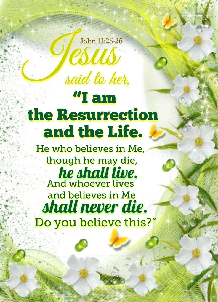 """""""Jesus said unto her, I am the resurrection, and the life: he that believeth in me, though he were dead, yet shall he live: And whosoever liveth and believeth in me shall never die. Believest thou this?"""" John 11:25-26 KJV"""