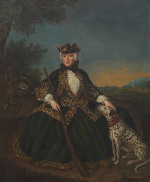 Finely painted portrait of a huntress in an 18th century style riding habit, holding her rifle and Dalmatian in a landscape.