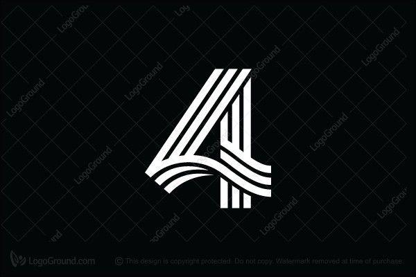 Number 4 Lines Logo In 2021 Logo Number Modern Logo Design Logo