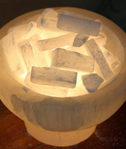 Selenite Firebowl Lamp