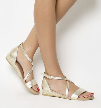 4d6016460239 Office Sierra Cross Strap Sandals Gold Leather - Sandals