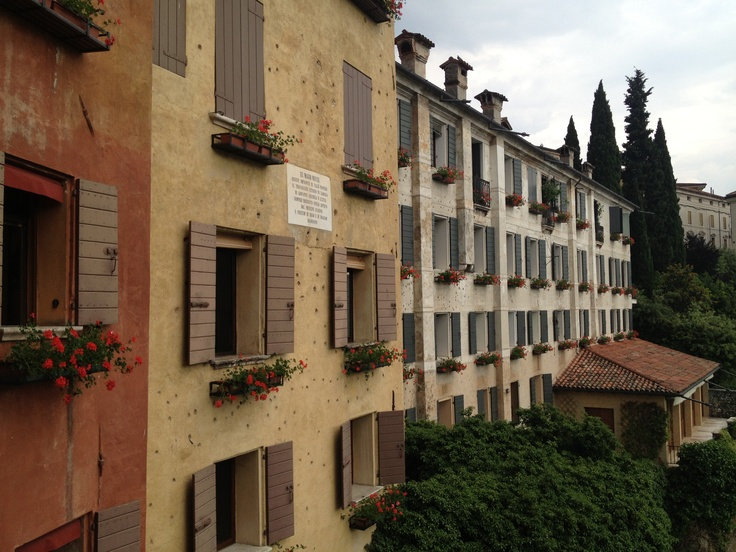 Ponte Vecchio, the buildings on either side of the ponte still have the bullet holes from WWII. Bassano del Grappa, Italy