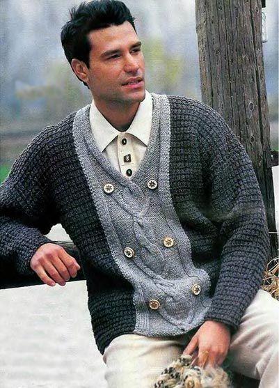 Пуловер, связанный спицами. Модели для мужчин