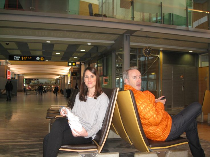 Elizabeth and Philippe in Oslo. Airport snacks are an essential ingredient in the success of any long-distance trip.