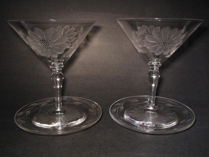 Pair of large Martini Glasses with Coasters, wheel cut with WJ Hughes Corn Flower