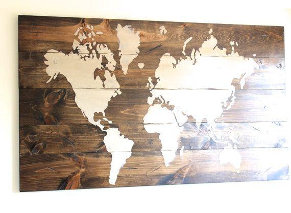 World Map Wall Decor Wood : World map sign custom wooden wall art by