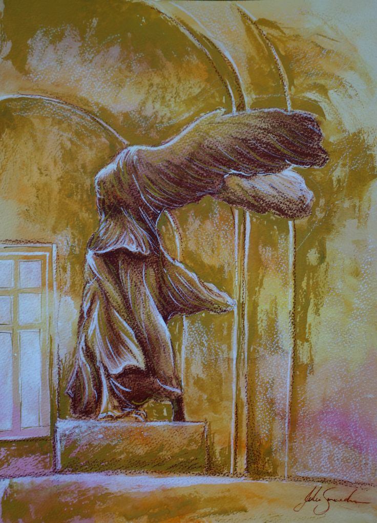 Painting of Nike of Samothrace - by Julie Sneeden