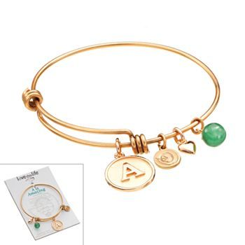Love This Life Gold Tone Stainless Steel And Aventurine Initial Charm Bangle Bracelet