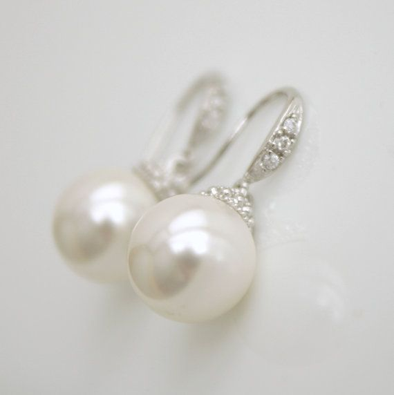 Bridal Earrings Wedding Pearl Jewelry Round White by poetryjewelry, $20.00